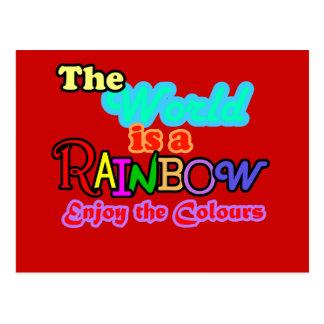 El mundo es un arco iris, disfruta de los colores postal