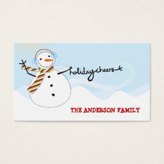 El muñeco de nieve de la diversión anima la tarjeta de visita