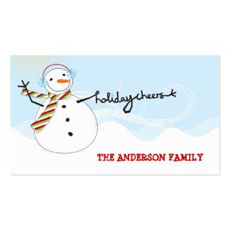el muñeco de nieve del fatfatin anima la etiqueta tarjetas de visita