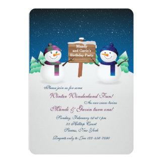 El muñeco de nieve hermana la invitación invitación 12,7 x 17,8 cm
