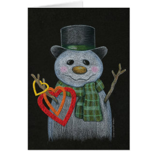 El muñeco de nieve que lleva a cabo el corazón tarjeta pequeña