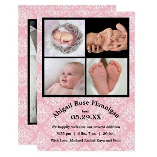 El nacimiento del rosa Damask-3x5 del collage de Invitación 8,9 X 12,7 Cm