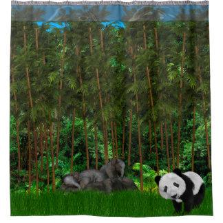 El Napping en la cortina de ducha de bambú de la