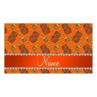 El naranja conocido lleva el modelo de las abejas tarjetas de visita