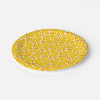 El naranja de la fruta cítrica del verano corta plato de papel