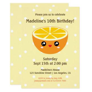 El naranja feliz lindo de la cara de Kawaii Invitación 12,7 X 17,8 Cm