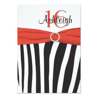 El naranja, negro, décimosexto cumpleaños de la invitación 12,7 x 17,8 cm