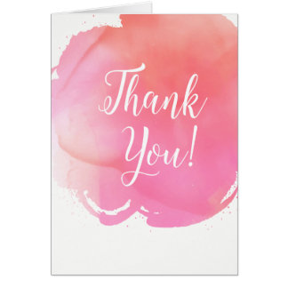 El naranja rosado de la acuarela le agradece tarjeta