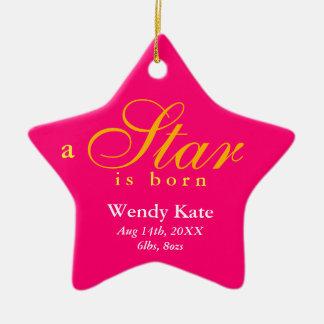 El naranja rosado una estrella es invitación adorno navideño de cerámica en forma de estrella
