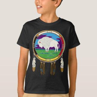 El nativo americano blanco del búfalo embroma la camiseta