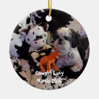 El navidad adorna añade la foto adorno navideño redondo de cerámica
