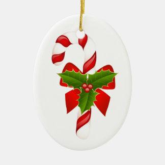 El navidad adorna el bastón 2013 de caramelo adorno navideño ovalado de cerámica