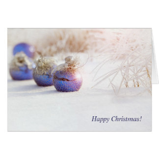 El navidad adorna en nieve tarjeta de felicitación