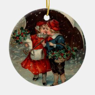 El navidad adorna, vintage Ellen Clapsaddle Adorno Navideño Redondo De Cerámica