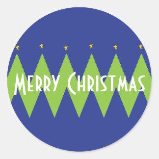 """El navidad """"árboles de Chevron"""" personaliza Pegatina Redonda"""
