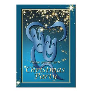 El navidad azul de la máscara del teatro de la invitación 12,7 x 17,8 cm