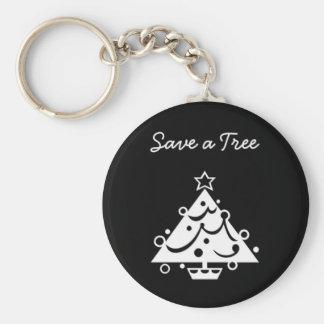 El navidad blanco y negro ahorra el árbol llavero redondo tipo chapa