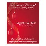 El navidad concierta los ornamentos rojos flyer personalizado