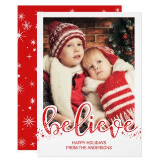 El navidad cree la foto caprichosa de la escritura invitación 11,4 x 15,8 cm