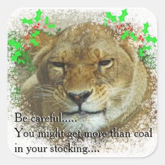 El navidad de la leona pegatina cuadrada