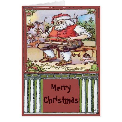 El navidad de Santa del vintage corrige el texto Tarjeta
