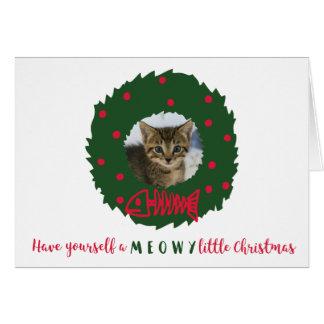 El navidad divertido del gato enrruella la foto de tarjeta de felicitación
