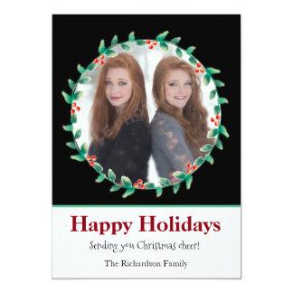 El navidad enrruella la tarjeta blanco y negro de invitación 12,7 x 17,8 cm