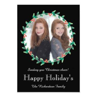 El navidad enrruella la tarjeta negra de la foto invitación 12,7 x 17,8 cm