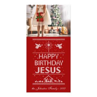 El navidad feo hace punto el feliz cumpleaños tarjeta