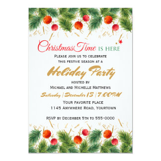 El navidad festivo pino y el fiesta de las bayas invitación 12,7 x 17,8 cm