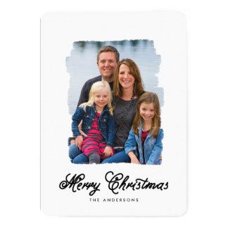 El navidad moderno pintó la tarjeta de la foto del invitación 12,7 x 17,8 cm