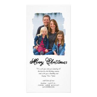 El navidad moderno pintó la tarjeta de la foto del tarjeta fotográfica