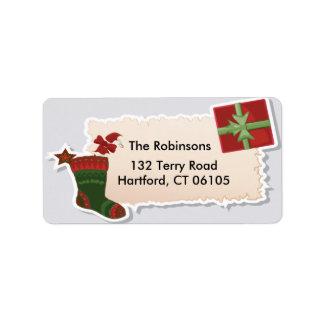 El navidad pega y etiqueta de dirección del regalo