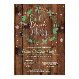 El navidad que la madera del fiesta de cena come invitación 12,7 x 17,8 cm