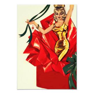 El navidad retro 60s invita invitación 8,9 x 12,7 cm