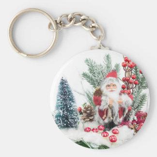 El navidad sirve con Papá Noel y la decoración Llavero