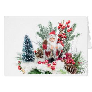 El navidad sirve con Papá Noel y la decoración Tarjeta De Felicitación