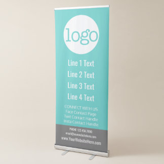 El negocio añade su logotipo y entra en contacto pancartas retráctiles