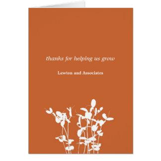 El negocio anaranjado quemado planta cada vez tarjeta pequeña