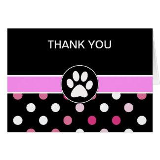 El negocio del tema del mascota le agradece las tarjeta pequeña