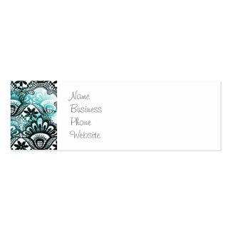 El negro azul de la aguamarina elegante se tarjetas de visita mini
