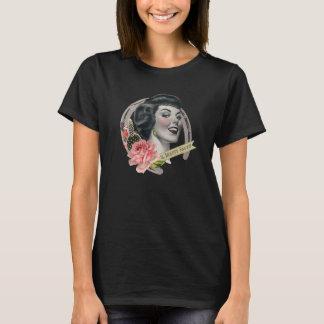 El negro de la camiseta del logotipo de la belleza