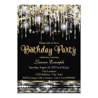 El negro de la mujer y cumpleaños de la chispa del invitación 12,7 x 17,8 cm