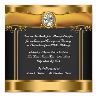 El negro de la mujer y fiesta de cumpleaños del invitación 13,3 cm x 13,3cm
