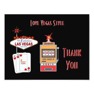 El negro del estilo de Vegas del amor le agradece Invitación 10,8 X 13,9 Cm