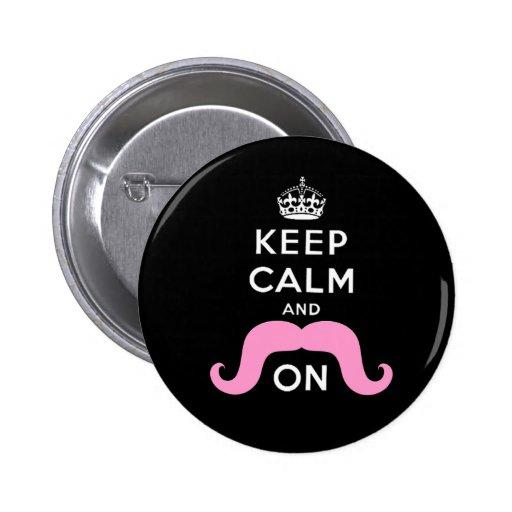 El negro divertido, rosa guarda calma y el bigote  pins