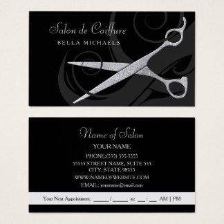 El negro elegante encrespa el salón de pelo de tarjeta de visita