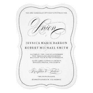 El negro en la unión elegante blanca del boda de comunicado personalizado