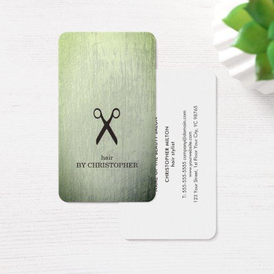El negro moderno del verde de la textura Scissors Tarjeta De Visita