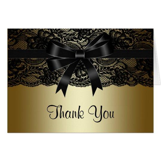 El negro negro elegante y el oro del cordón le tarjeta pequeña